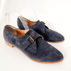 Dolce Vita Blue Suede Buckle Oxford Flatz Shoes